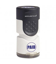 "Accustamp ""Paid"" Pre-Inked Round Stamp with Microban, Blue Ink, 5/8"""