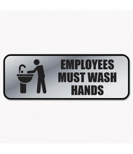 "Cosco 9"" W x 3"" H Employees Must Wash Hands Metal Office Sign"
