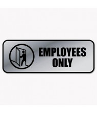 "Cosco 9"" W X 3"" H Employees Only Metal Office Sign"