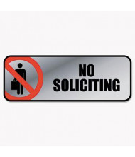 "Cosco 9"" W x 3"" H No Soliciting Metal Office Sign"
