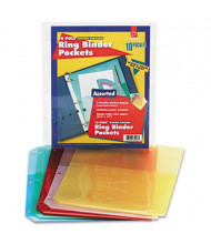 "Cardinal 8-1/2"" x 11"" Ring Binder Poly Pockets, Assorted, 5/Pack"