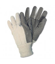MCR Safety Memphis Men's One Size Dotted Canvas Gloves, White, 12 Pairs