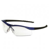 MCR Safety Crews Dallas Wraparound Safety Glasses, Metallic Blue Frame with Clear AntiFog Lens