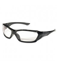 MCR Safety Crews ForceFlex Safety Glasses, Black Frame with Clear Lens