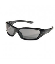 MCR Safety Crews ForceFlex Safety Glasses, Black Frame with Gray Lens