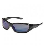 MCR Safety Crews ForceFlex Safety Glasses, Black Frame with Blue Lens