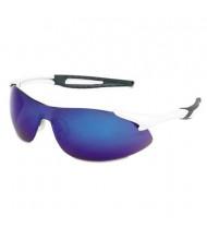 MCR Safety Crews Inertia Safety Glasses, White Frame with Blue Diamond Mirror Lens