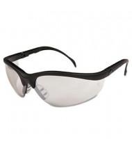 MCR Safety Crews Klondike Safety Glasses, Black Matte Frame with Clear Mirror Lens