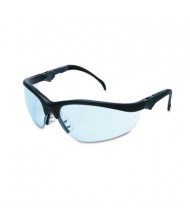 MCR Safety Crews Klondike Plus Safety Glasses, Black Frame with Light Blue Lens