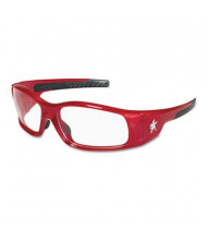 MCR Safety Crews Swagger Safety Glasses, Red Frame with Clear Lens