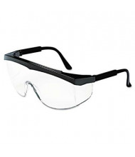 MCR Safety Crews Stratos Safety Glasses, Black Frame with Clear Lens