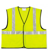 MCR Safety Crews Class 2 Polyester Safety Vest, Fluorescent Lime with Silver Stripe, XL