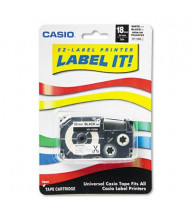 Casio XR118BKS 18 mm Label Printer Iron-On Transfer Tape, Black on White