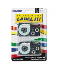 Casio KL XR12WE2S 12 mm x 26 ft. Label Tape Cassette, Black on White, 2/Pack