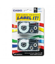 Casio KL XR18WEB2S 18 mm x 26 ft. Label Tape Cassette, Blue on White, 2/Pack