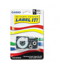"Casio KL XR18WES 3/4"" x 26 ft. Label Tape Cassette, Black on White"