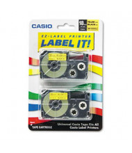 Casio KL XR18YW2S 18 mm x 26 ft. Label Tape Cassette, Black on Yellow, 2/Pack