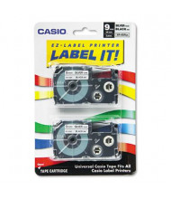 Casio KL XR9SR2S 9 mm x 26 ft. Label Tape Cassette, Black on Silver, 2/Pack