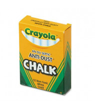 "Crayola Anti-Dust 3-3/16"" Chalk, White, 12-Sticks"