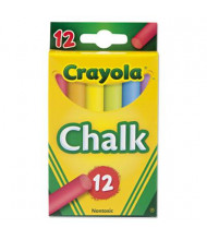 "Crayola Colored 3-3/16"" Chalk, Assorted, 12-Sticks"
