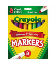 Crayola Non-Washable Marker, Broad Point, Assorted, 8-Pack