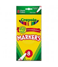 Crayola Non-Washable Marker, Fine Point, Assorted, 8-Pack