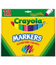 Crayola Non-Washable Marker, Broad Point, Assorted, 12-Pack