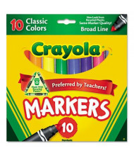 Crayola Non-Washable Marker, Broad Point, Assorted, 10-Pack