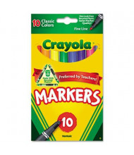 Crayola Non-Washable Marker, Fine Point, Assorted, 10-Pack
