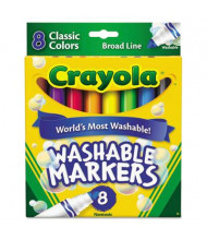 Crayola Ultra-Clean Washable Marker, Broad Point, Assorted, 8-Pack