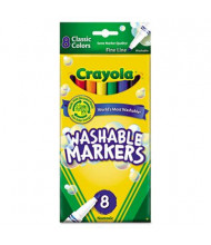 Crayola Ultra-Clean Washable Marker, Fine Point, Assorted, 8-Pack