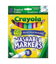 Crayola Washable Marker, Conical Point, Tropical Assorted, 8-Pack