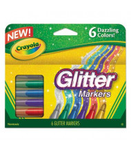 Crayola Glitter Marker, Conical Point, Assorted, 6-Pack