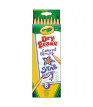 Crayola Dry Erase 3.3 mm Assorted Colors Woodcase Washable Pencils, 8-Pack