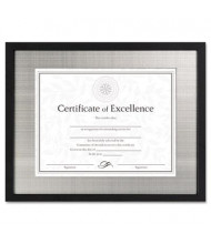 "DAX Contemporary Wood Document Frame, 11"" W x 14"" H, Silver Metal Mat and Black Border"