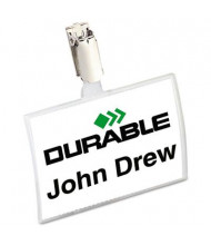 "Durable 3-3/4"" x 2-1/4"" Click-Fold Convex Strap Clip Name Badge Holder, Clear, 25/Pack"