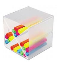 Deflect-o Stackable X-Divider Desk Cube, Clear Plastic