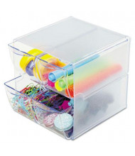 Deflect-o Four Drawer Desk Cube, Clear Plastic
