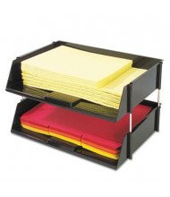 "Deflect-o 3-1/2"" H Two-Tier Industrial Stacking Tray Set, Black"