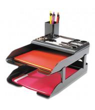 "Deflect-o 2-5/8"" H Two-Tier Corporate Desk Tray Set, Metallic Black"