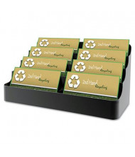 """Deflect-o Eight-Pocket Recycled Business Card Holder, Holds 450 2"""" x 3 1/2"""" Cards, Black"""