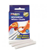 "Prang Hygieia Dustless 3-1/4"" Board Chalk, White, 12-Sticks"