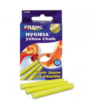 "Prang Hygieia Dustless 3-1/4"" Board Chalk, Yellow, 12-Sticks"