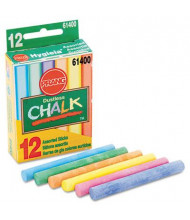"Prang Hygieia Dustless 3-1/4"" Board Chalk, Assorted, 12-Sticks"