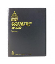 "Dome 8-1/2"" x 11"" 128-Page Bookkeeping Record Book, Black Vinyl Cover"