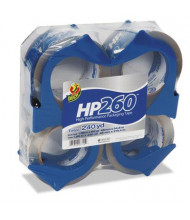 "Duck HP260 Packaging Tape with Dispensers, 4-Pack, 3"" Core"