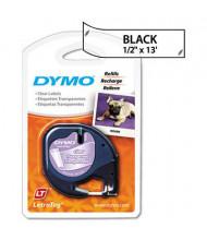 """Dymo LetraTag 16952 Plastic 1/2"""" x 13 ft. Label Tape Cassette, Clear"""
