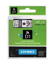 "Dymo D1 45010 Polyester 1/2"" x 23 ft. Label Maker Tape, Black on Clear"