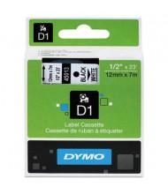 """Dymo D1 45013 Polyester 1/2"""" x 23 ft. Label Maker Tape, Black on White"""
