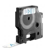 """Dymo D1 45014 Polyester 1/2"""" x 23 ft. Label Maker Tape, Blue on White"""